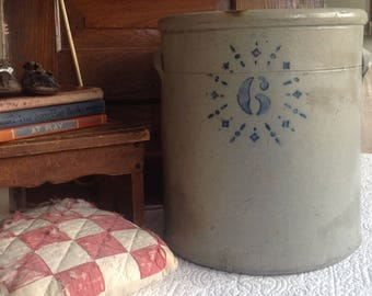 Antique farmhouse late 1800's stenciled 6 gallon crock