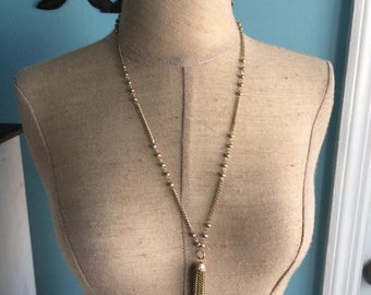 Vintage gold tone tassel necklace