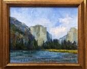 Yosemite Valley, California landscape original plein air oil painting 13x11 framed