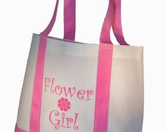 Flower Girl Tote Bag White with Pink Straps Wedding Flower Girl Gifts