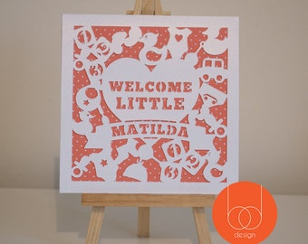 Welcome little Customisable name New Baby Greeting Card