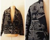 David Paul Ultra Soft Italian Fabric Native American Print Boho Rancher Jacket Medium