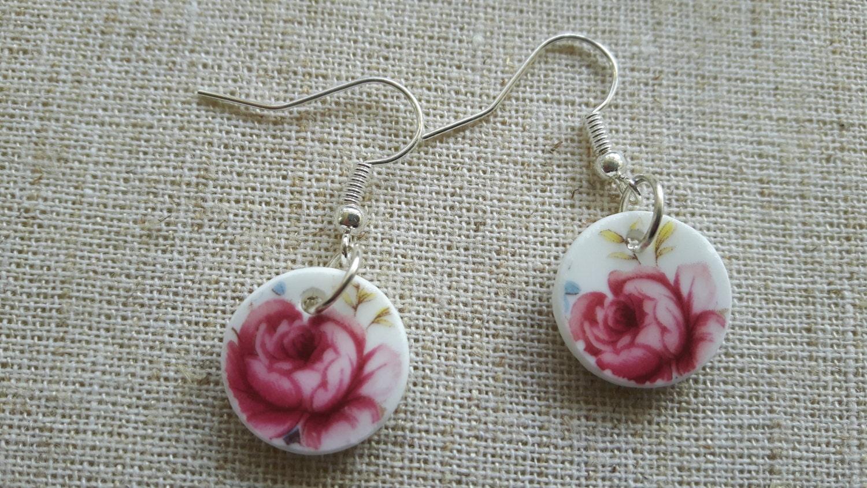 Beautiful hand cut vintage broken china porcelain earrings