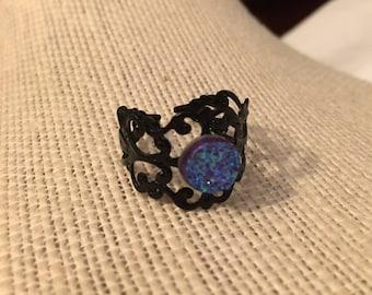 8mm Blue&Pink Faux Druzy Filigree Adjustable Ring