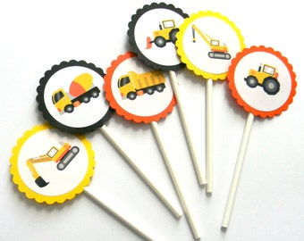 12 Orange Construction Cupcake Toppers, Truck Birthday, First Birthday, Dump Truck, Construction Party, Bulldozer, Truck Theme, Party