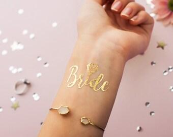 Bride! Metallic Gold Temporary Tattoo | Bachelorette Party Favor | Bridesmaid Wedding Flash Tattoo | Hen Bridal Party Gift