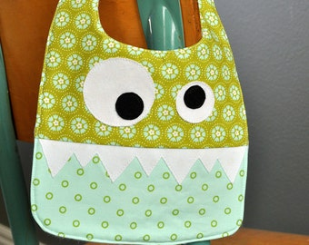Green and Turquoise Girly Monster Baby Bib, Handmade Baby Bib, Baby Bibs, Monster Birthday Party Bib, Baby Shower Gift, Handmade Baby Gift