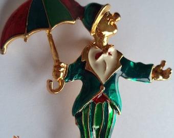Vintage Unsigned Goldtone/Multi Clown holding Umbrella Brooch/Pin
