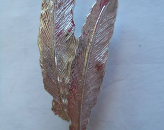 Vintage Signed Gerrys Silvertone Feathers Brooch/Pin