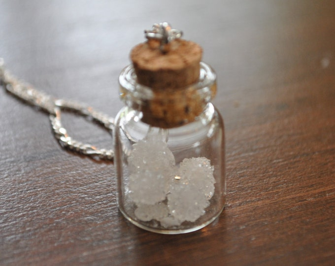 Genuine Quartz crystals Jar Necklace on Sterling Silver chain, clear crystal necklace, boho, minimalist, February stone