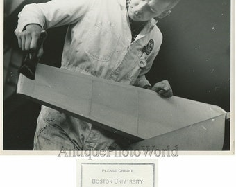 Boston University airplane construction school student making plane 1950s photo