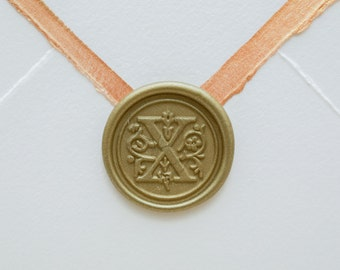 X letter wax seal for wedding invitations or personal correspondence