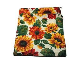 Reusable Zipper Sandwich Bag set of 2 Sunflowers Gerber Daisies
