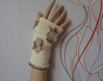 Hand-knitted cream color fingerless gloves/wrist warmers