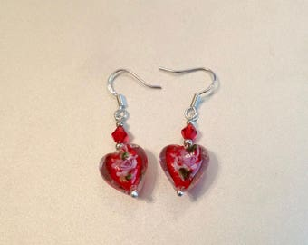 Red Floral Heart Lampwork Earrings