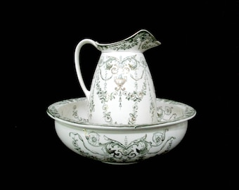 Antique Pitcher and Wash Basin, Late 1800s, Dark Green Garland on Creamy White, Large and Deep, Farmhouse Cottage Decor
