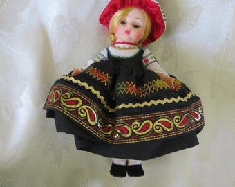 Madame Alexander doll vintage 1970s Finland 761 in original box black red gold green paisley dress