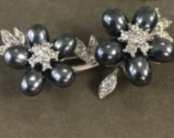 Nolan Miller Brooch - Silver Tone with Steel Gray Faux Pearls   - S2061