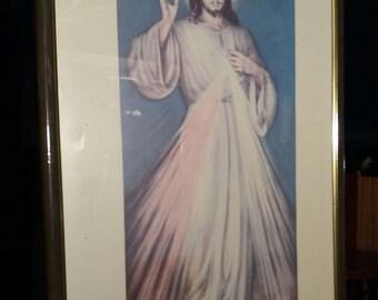 Vintage Jesus print picture frame