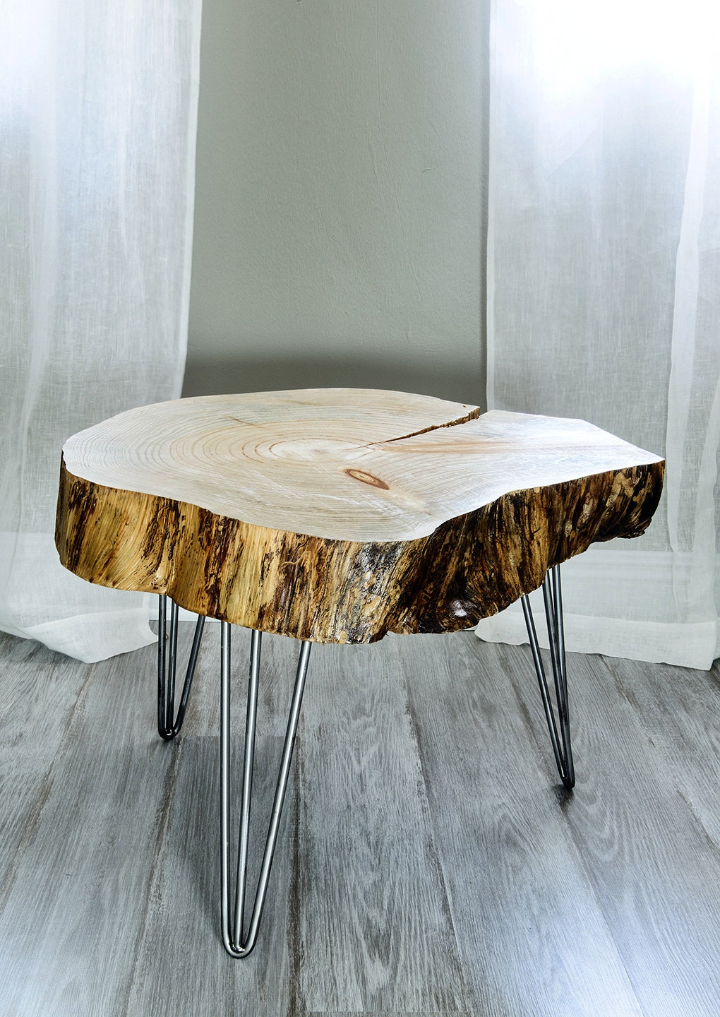 Live Edge Table Wood Slice Sidetable Modern End Table from