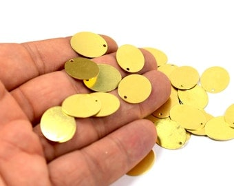 150 Pcs. Raw Brass 14x18 mm Oval 1 Hole Stamping Findings