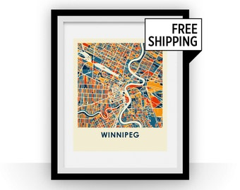 Winnipeg Map Print - Full Color Map Poster