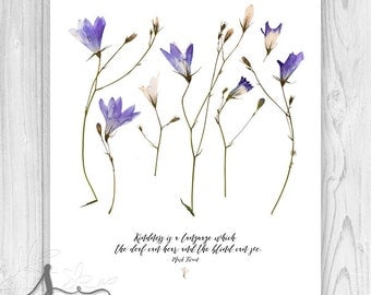 Kindness is a Language Mark Twain Typography Quote, Kindness Quote Art Print, Kindness Sign, Mark Twain Quote, Pressed Purple Flowers Art