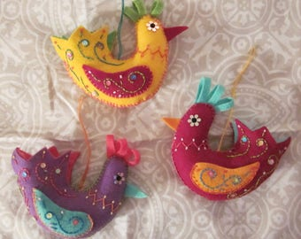 Colorful Felt Bird Ornament - Assorted colors - Choose One