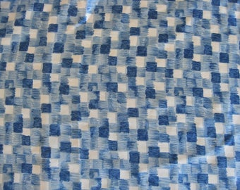 Blue check silk fabric, vintage French checkered silk material