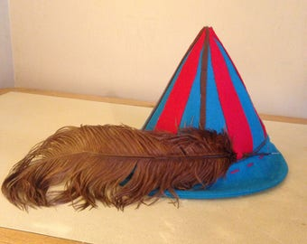 Crazy ELF Hat with Brown Plum Feather