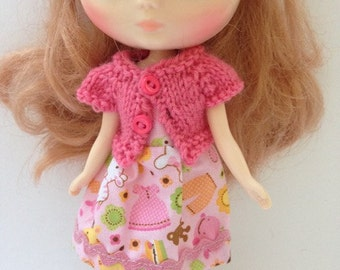 Midde Blythe Tokissi Bunny Doll Pink print Dress with Matching pink Short Sleeve Cardy
