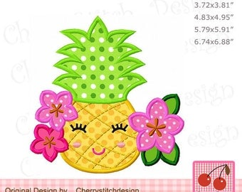 Pineapple with flowers Summer fruit Machine embroidery applique design SUM24