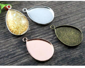 13*18mm/18x25mm Vertical Cup Antique Bronze Plated High Quality Copper Drop Cabochon Base Cameo Settings Blank Tray Pendant Charms