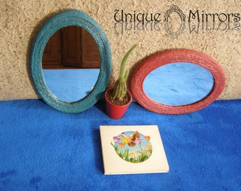 DECORATIVE WALL MIRRORS, Blue hemp rope oval mirror, Red hemp rope oval mirror, Set of 2 decorative mirrors, home or office decoration
