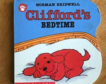 Clifford's Bedtime 1991 Scholastic Board Book, Norman Bridwell, The Big Red Dog, Small Red Puppy Board Book
