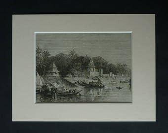 1870s Antique Murshidabad Print, Available Framed, India Art, Bengali Wall Art, Victorian Picture, Historic Gift, PrimrosePrints, Bengal Art