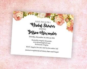 Floral Bridal Shower Invitation- Personalized Digital File