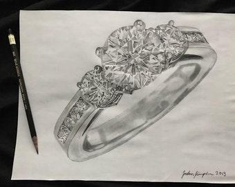 Custom Drawing Original Realistic Ring Jewelry Drawing by Photo Realism artist Jordan Kimpton,