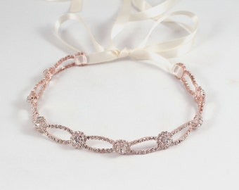 Rose Gold Wedding Headband - Bridal Headband - Prom - Tie Back Headband - Wedding Accessory - Bridal Headpiece - Wedding Headpiece