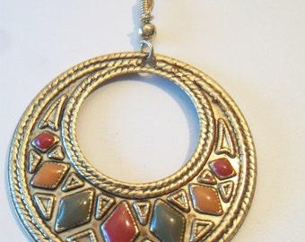 Vintage Geometric Enamel Boho Disc Pendant Necklace Repurposed Jewelry
