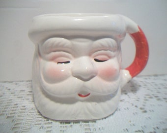 Santa Claus Coffee Mug with Closed Eyes Festive Holiday Christmas Decor Kitchen