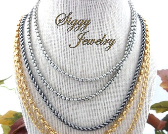 Thick Chain Necklace, Modern, Chunky Accent Chain, Silver Tone, Long Chain, Select A Length, Siggy Jewelry