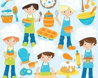 80% OFF SALE baking boys clipart commercial use, vector graphics, digital clip art, digital images - CL745