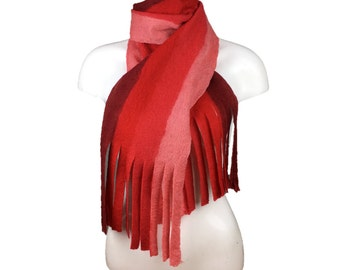Red striped wet felted scarf with tassels, merino wool, gift boxed
