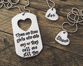 Little Brother, Big Sisters Gift Hand Stamped Dogtag Necklace OR Keychain Set