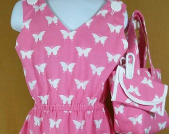 4T Pink butterfly dress and purse