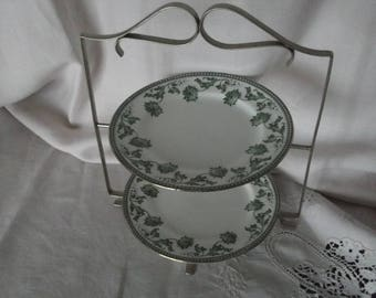 Edwardian Silver Plated Two Tier Cake Stand with Plates , Silver Plated Cake Stand , Vintage Cake Stand , Antique Cake Stand