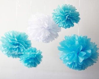 Clearance - 20 Sky Blue and White Tissue Paper Pom Poms - Fast Shipping -  for Baby Shower / Birthday Party / Wedding / Room Decoration