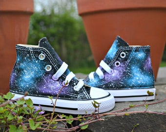 Baby Galaxy Converse, Kids Hi Tops, Baby Converse, Kids Custom Converse, Hand Painted, Crib Converse, Galaxy Trainers, Kids Sneakers