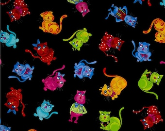 Cool Cats Tossed Cool Cats Black - One Yard - Loralie Designs